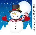 cute snowman over winter landscape with trees. vector