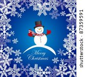 snowman over blue background with snowflakes. vector