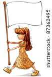 Marching Little Girl With Blank ...