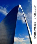 St. Louis Arch in Missouri with clouds and sky in background - stock photo