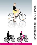 girl ride bike city streets | Shutterstock .eps vector #87371906