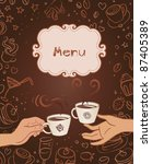 hand drawn restaurant menu... | Shutterstock .eps vector #87405389