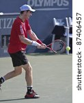 NEW YORK - SEPTEMBER 02: Andy Murray of Scotland returns ball during 2nd round match against Robin Haase of the Netherlands at USTA Billie Jean King National Tennis Center on September 02, 2011 in NYC - stock photo