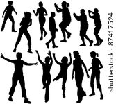 dance silhouettes   black... | Shutterstock . vector #87417524