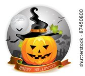 halloween pumpkin with witches... | Shutterstock .eps vector #87450800
