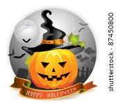 halloween pumpkin with witches... | Shutterstock .eps vector #87450800