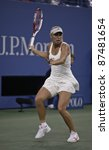 NEW YORK - SEPTEMBER 01: Caroline Wozniacki of Denmark returns ball during 2nd round match against Arantxa Rus of the Netherlands at USTA Billie Jean King National Tennis Center on Sep 01, 2011 in NYC - stock photo