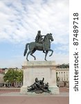 Equestrian statue of Louis XIV the Great Sun King on Place Bellecour in Lyon, France - stock photo