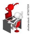 businessman frightened by devil ... | Shutterstock . vector #87507559