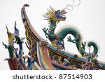 Ornaments on Chinese temple - stock photo