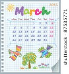 calendar for march 2012. week... | Shutterstock .eps vector #87535771
