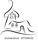 church abstract sketch drawing style - stock vector