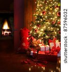 Stock photo christmas scene with tree gifts and fire in background 87596032