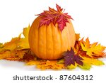 ripe pumpkin and autumn leaves... | Shutterstock . vector #87604312