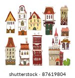 set of european houses | Shutterstock .eps vector #87619804