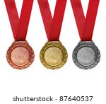 Three medals   gold  silver and ...
