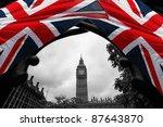 Big Ben With Flag Of England ...