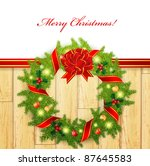 christmas wreath with bright...   Shutterstock .eps vector #87645583
