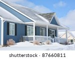 A family home in the suburbs on a sunny winter day. - stock photo