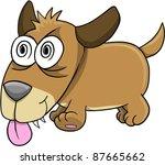Crazy Insane Puppy Dog Vector Art Illustration - stock vector