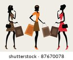 Three Silhouettes Of A Women...