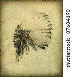 american indian chief | Shutterstock . vector #87684190