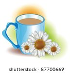 blue mug with chamomile tea | Shutterstock .eps vector #87700669