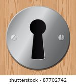 keyhole on wooden door - stock vector