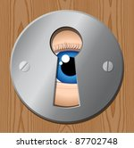 eye looks through keyhole – peeping tom - stock vector