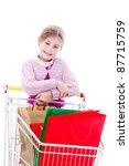 little girl in shopping with... | Shutterstock . vector #87715759