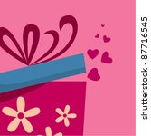 gift box with fly hearts | Shutterstock .eps vector #87716545