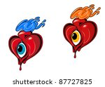 red retro hearts with eye for... | Shutterstock .eps vector #87727825