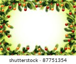 christmas frame with fir  holly ... | Shutterstock .eps vector #87751354