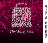 Christmas sa;e card with shopping bag. EPS 8 vector file included