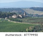 landscape around San Gimignano, medieval small town near Florence - stock photo