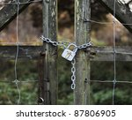 Old Padlock On Wooden Gate In...