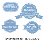 collection of blue vintage... | Shutterstock .eps vector #87808279