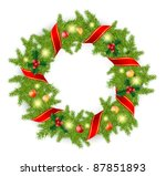 christmas wreath with red bow... | Shutterstock . vector #87851893