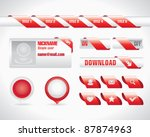 red ribbon user interface set