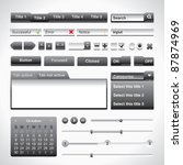 grey extruded user interface set
