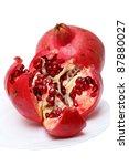 Ripe pomegranates isolated on a white background - stock photo