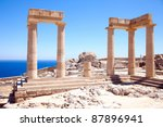 ruins of ancient temple. lindos.... | Shutterstock . vector #87896941