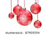 christmas balls hanging... | Shutterstock . vector #87905554