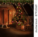 vintage attic with christmas... | Shutterstock . vector #87910369