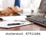 colleagues working together in... | Shutterstock . vector #87911686