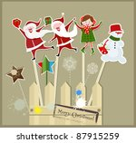 christmas sticks with santa ... | Shutterstock .eps vector #87915259