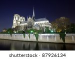 Notre Dame cathedral in Paris, night scene - stock photo