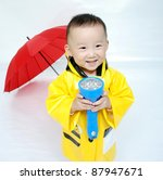 Portrait of  little Asian  boy - stock photo