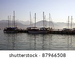 harbor in fethiye with boats ... | Shutterstock . vector #87966508