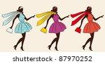 vintage silhouette of girl . | Shutterstock .eps vector #87970252